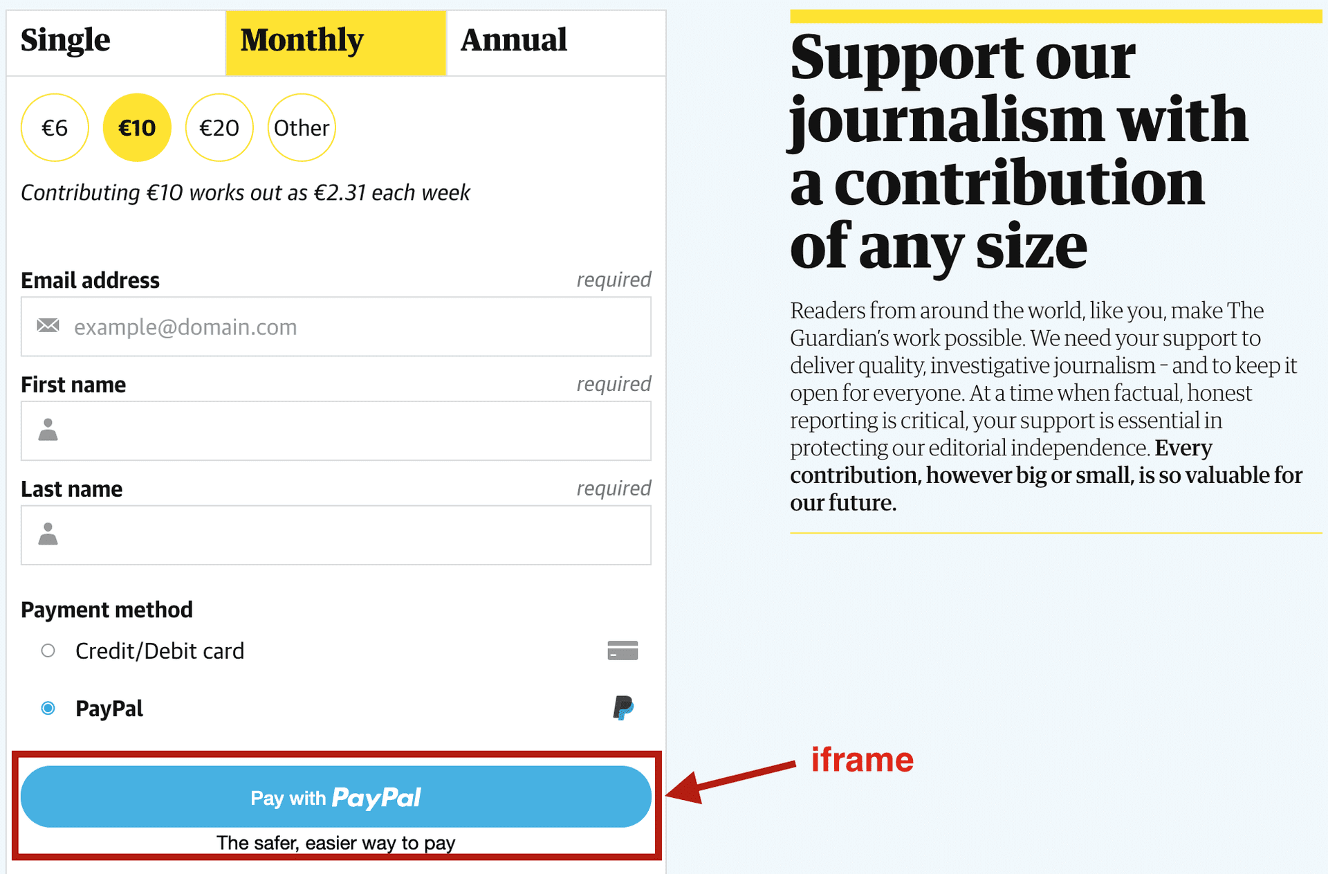 Payment screen from [guardian.co.uk](http://guardian.co.uk)